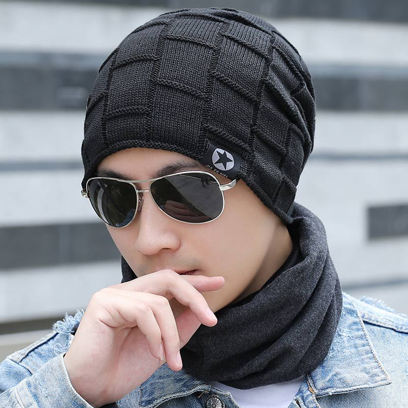 2019 Men's Fashion Winter Beanie Hat Solid Casual Knitted Beanies Caps Gorros Autumn title=