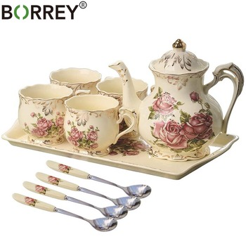 BORREY Ceramic Teapot Coffee Cup And Saucer Spoon Set Rose Teacup British Tea Set With Tea Tray Porcelain Coffee Pot Cup Teatime
