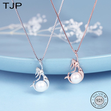 TJP S925 Pure Silver Item swear Natural Freshwater Pearl Jewelry Mermaid Pendant