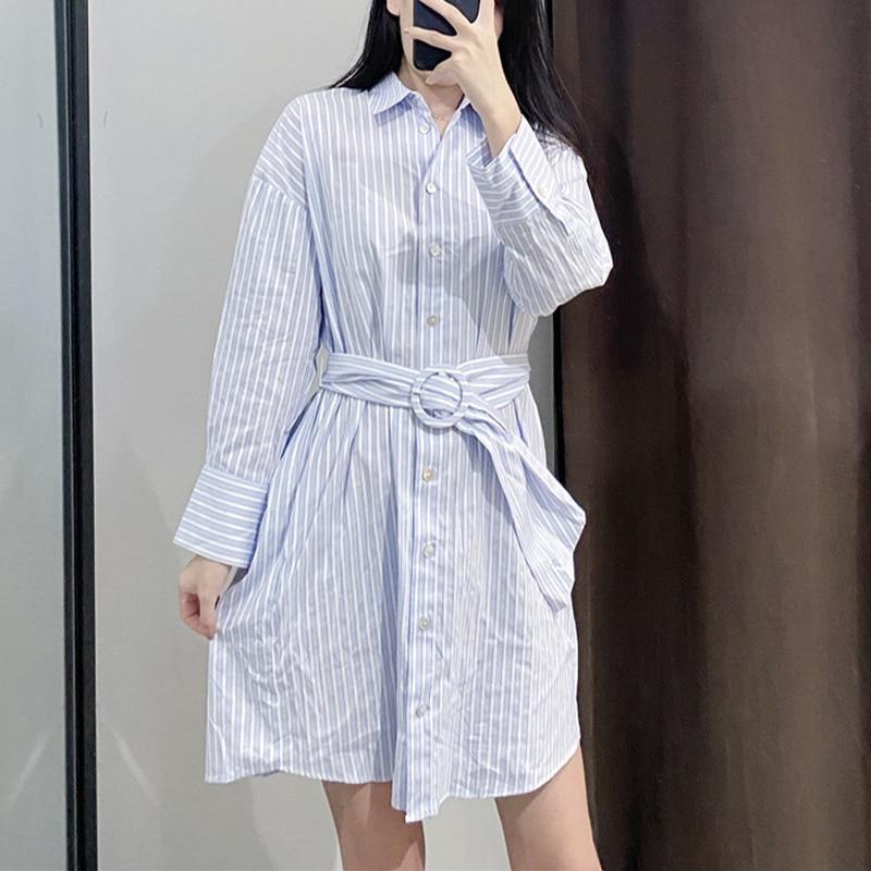 2020 Весна Осень Мода Женщины Рубашка В Полоску Мини-Платье С Поясом С Длинным Рукавом Случайные Свободные Платья Женские Платья Vestidos