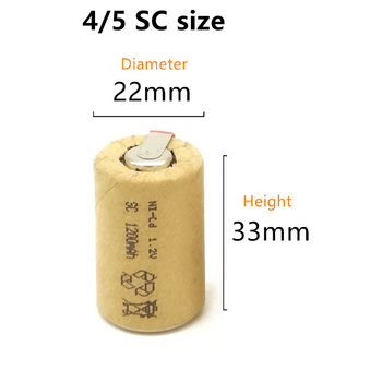 10/lot High quality battery rechargeable battery sub battery 4/5 SC Ni-Cd battery 1.2 v with tab 1200 mAh for Electric tool image