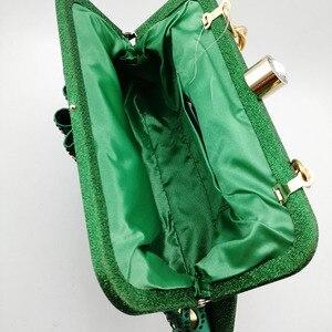 Image 3 - Groene Vrouwen Schoenen En Tassen Set Op Verkoop Nigeriaanse Vrouwen Bruiloft Slippers Met Rhinestone Italiaanse Ontwerp