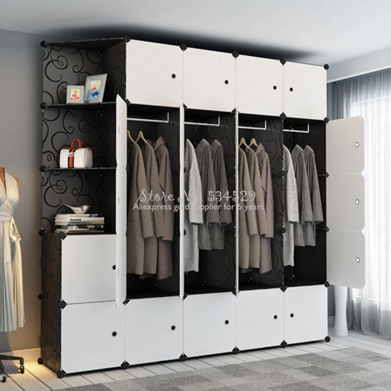 21%Wardrobe Simple Modern Economic Plastic Wardrobe Bedroom Double Folding Locker Simple Steel Frame Hanging Wardrobe