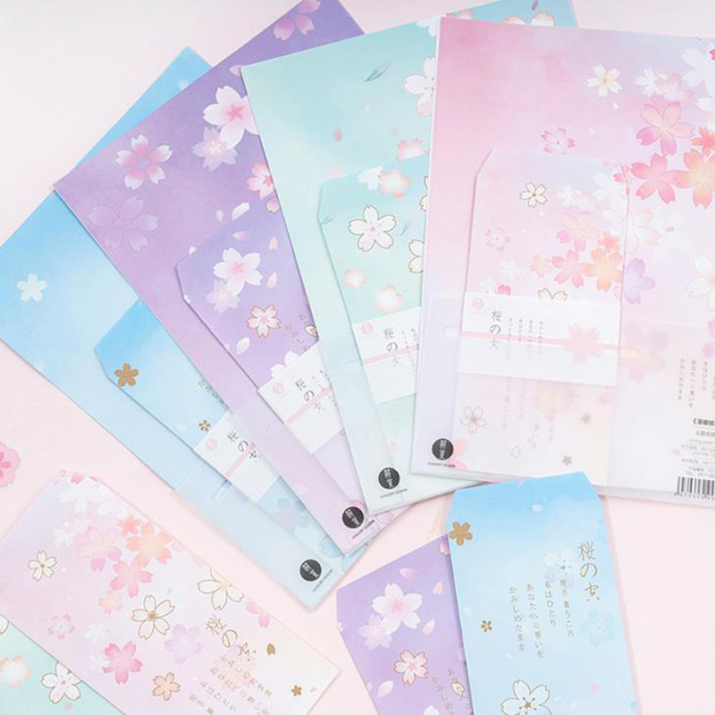 9 Pcs/pack Lovely 3 Envelopes+6 Sheets Letters Cherry Blossoms Sakura Paper Envelope Letter Set For Kids Gift Korean Stationery
