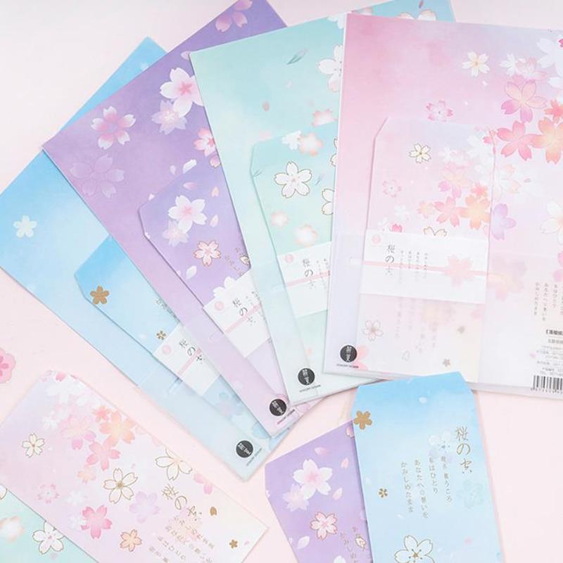 9 Pcs/pack Lovely 3 Envelopes+6 Sheets Letters Cherry Blossoms Sakura Paper Envelope Letter Set For Kids Gift Korean Stationery