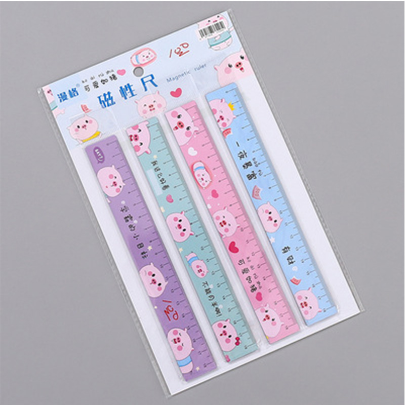 Pig Ruler Cute 18cm Magnetic Bendable Measuring Straight Rulers Drawing Tool Promotional Stationery Gift School Supplies