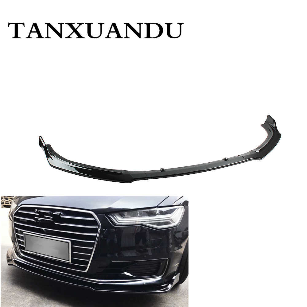 1026 Painted Gloss Black 3-Stage Front Bumper Lip Spoiler Underbody Wing Standard Style Fit For AUDI A6 C7.5 2016-2018 Not SLine