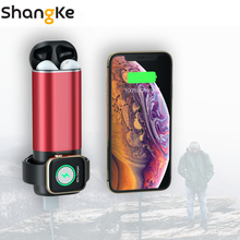 3 In1 Wireless Charger Power Bank 5200mAh Portable Mobile Phone Charger  Power Bank for iPhone AirPods Apple Watch Series 4/3/2/ стоимость