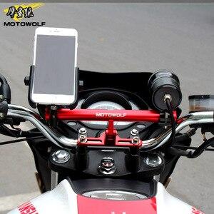 Image 3 - MOTOWOLF Bracket Motorcycle Scooter Bike Phone GPS Spotlight Support Holder Bar For Honda KTM Harley Kawasaki Suzuki Yamaha BMW