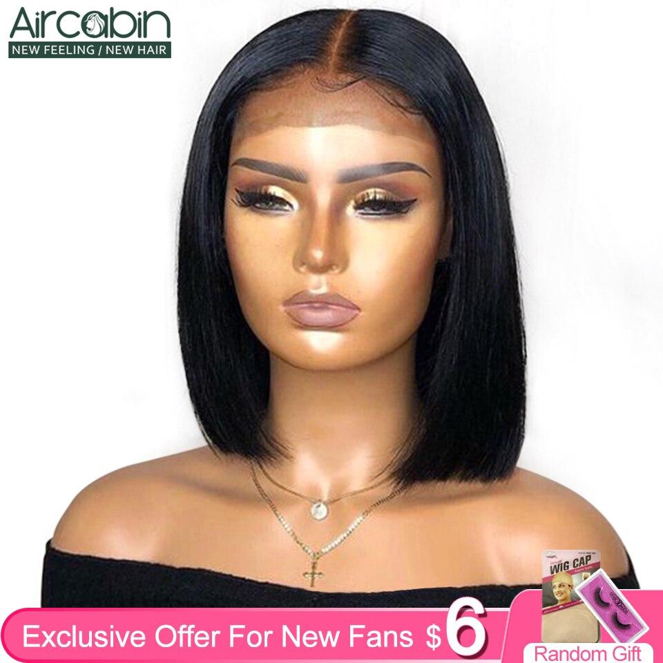 Aircabin 13x4 Lace Frontal Bob Wigs Human Hair Brazilian Straight 8