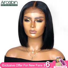 "Aircabin 13x4 Lace Frontal Bob Wigs Human Hair Brazilian Straight 8""-16"" Short Bob Wigs For Black Women Natural Color Non-Remy"