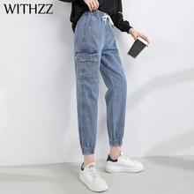 Trousers Jeans Harem-Pants Spring Elastic-Waist Casual-Tie WITHZZ Women's Denim Asian