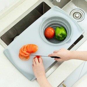 Image 2 - 3 в 1 многофункциональное измельчение продуктов Съемная Складная Силиконовая корзина для слива овощей Антибактериальный кухонный инструмент для резки