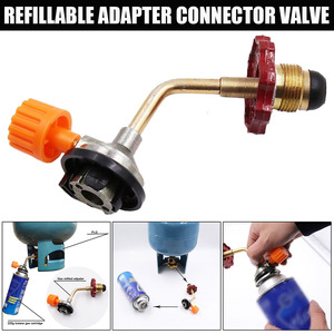 Outdoor Camping Gas Butane Cylinder Tank Refill Connector Adapter Valve Recharge Refillable Adaptor Butane Cylinder Accessories