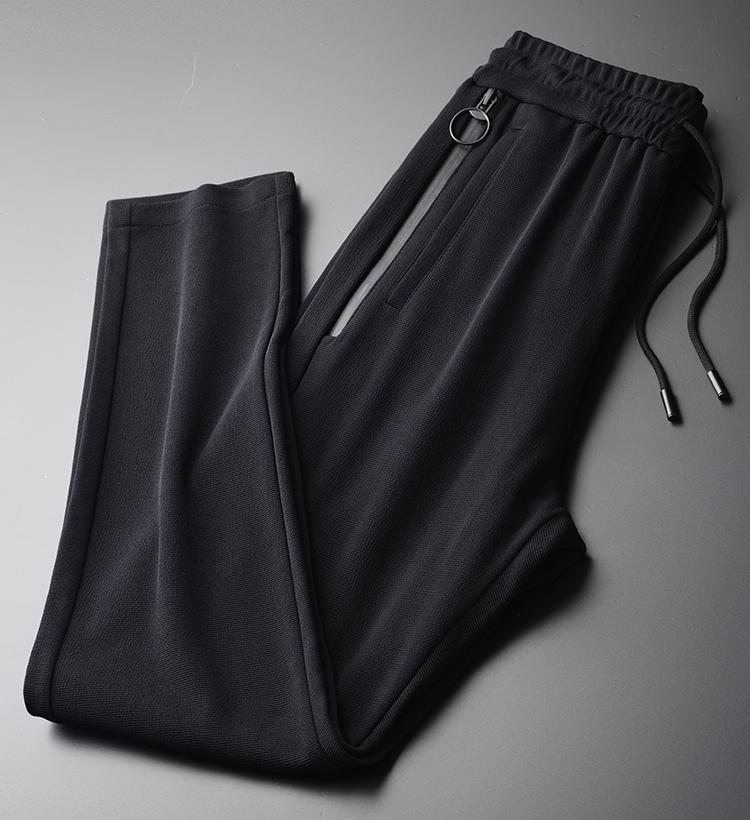Knit Man Luxury Spring 3d Cross Stripe Black Mens Trousers Plus Size 4xl Double Pocket Zipper Slim Men Casual Pants