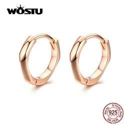WOSTU Rose Gold Hoop Earrings 925 Sterling Silver Small Hoop Earrings For Women Wedding Original Silver 925 Jewelry CTE119