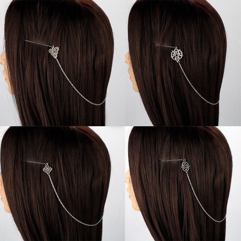 Заколка для волос с узлами викингов, кельтический узел, аксессуары для волос, скандинавские заколки для волос викингов, заколка для волос дл...