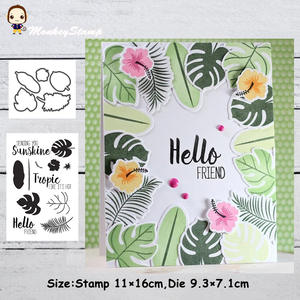 Monkey Tropical Leaves Metal Cutting Dies Stencils Cear Stamp for DIY Scrapbooking photo album Decorative Embossing Paper Cards