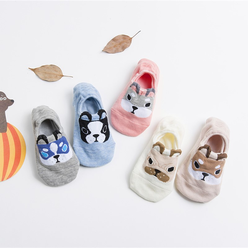5 Pairs New Arrival Spring Summer Cotton comfortable Cartoon Animal Dog Funny Invisible Ankle Casual Female Girl Boat Socks