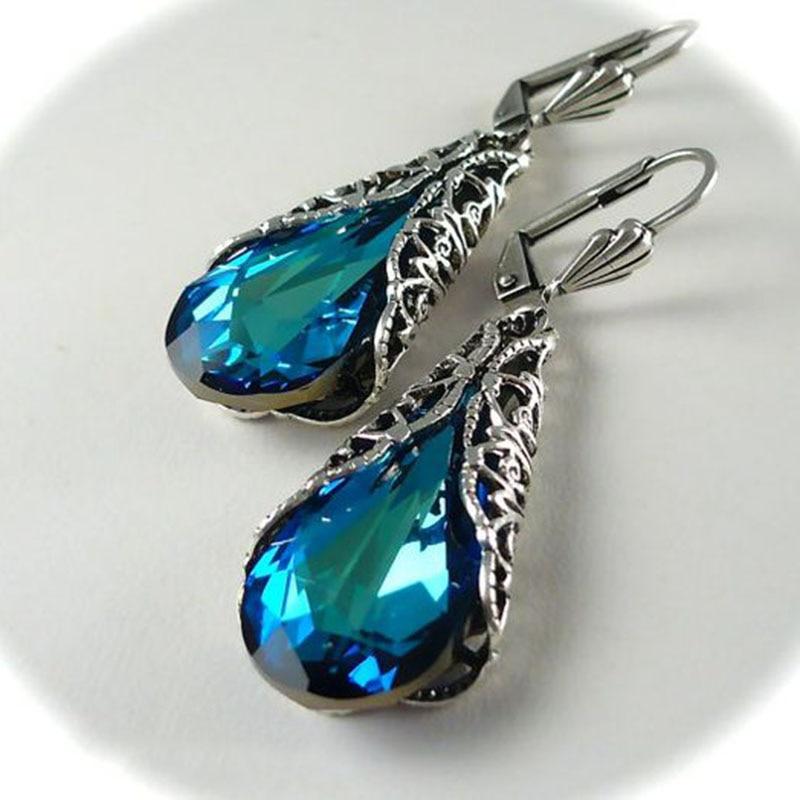 Vintage Big Blue Water Drop Zircon Earring Fashion Hollow Long Earrings For Women's Gift Dangle Earrings Hanging Z3C157