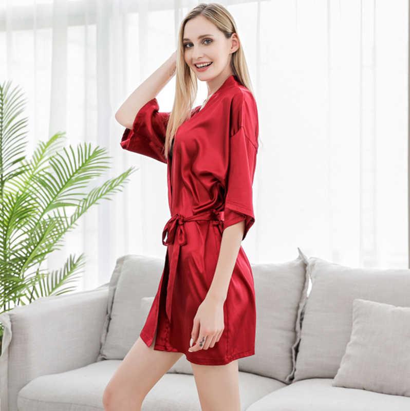 Artificiale di seta dei pigiami delle donne kimono estate mid-maniche lunghe sposa damigella d'onore degli indumenti da notte vestaglia bata mujer accappatoio sposa abito da sposa