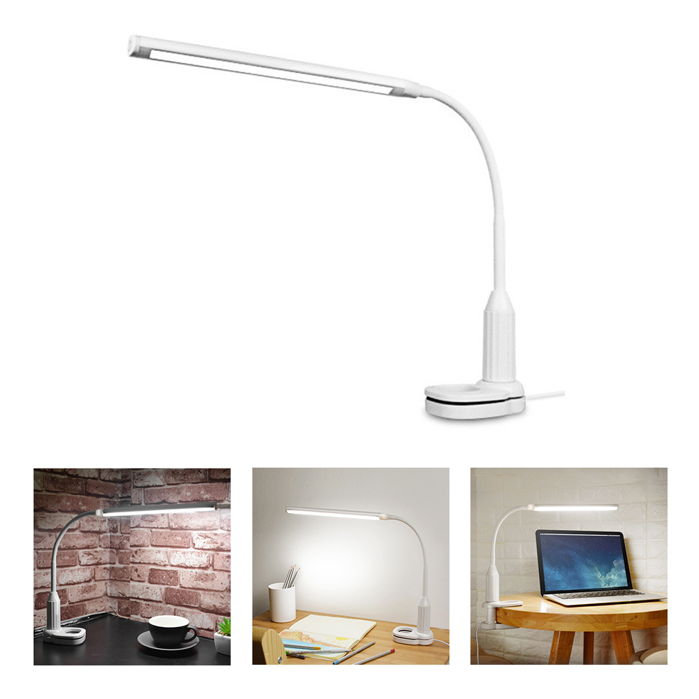 LED Desk Lamp Clamp Light Stepless Dimmable USB Powered Touch Sensor Control Reading Study Table Lamps