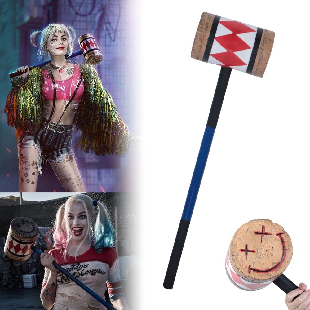 Birds Of Prey Cosplay Harley Quinn Mallet Hammer Smile Face Suicide Squad Bat Halloween Props