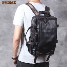 Модный Роскошный рюкзак из натуральной кожи для мужчин и женщин