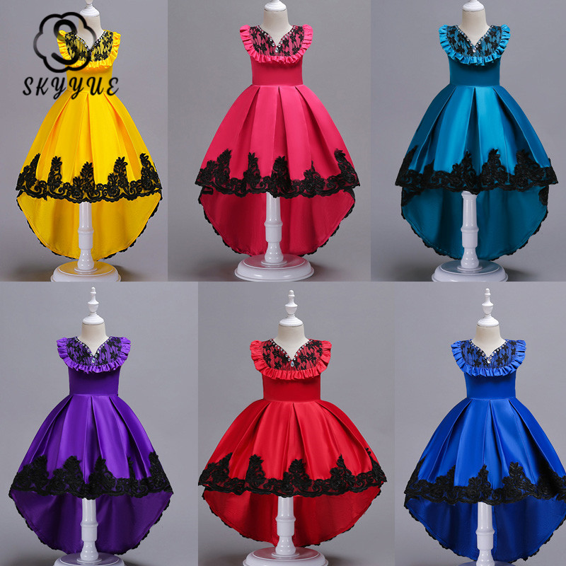 Skyyue Flower Girl Dress for Wedding O-neck Ruffles Crystal Tulle Tank Ball Gown Kid Party Communion Dress Princess 2019 728