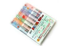 Uni Posca – marqueurs de peinture à paillettes, points fins, ensemble de 7 couleurs