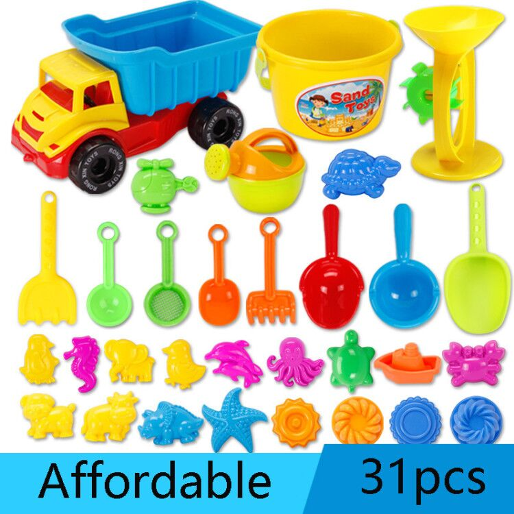 31PCS Beach Toys Outdoor Tool Sand Toy Beach Game Funny Plastic Bathing Playing Sandbox Toys Sand Dredging Sand Set For Children