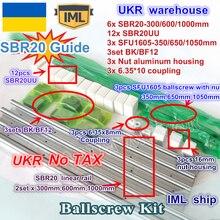 UKR เรือ 3 ชุด ballscrew SFU1605 350/650/1050 มม.+ 3 ชุด BK/BF12 + 3 ชุด SBR20 Linear ราง + 3 Couplers สำหรับ CNC Router Milling