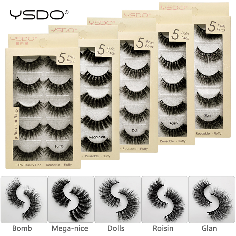 YSDO 5 Pairs 3d Mink Lashes Eyelash Extension Cruelty Free False Lashes Thick Volume Mink Eyelashes Lashes Maquiagem Faux Cils
