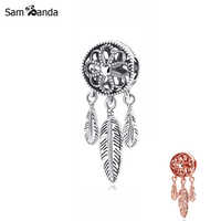 Original 100% 925 Sterling Silver Bead Charm Spiritual Dream Catcher Charms Feather Fit Pandora Bracelets Women DIY Jewelry
