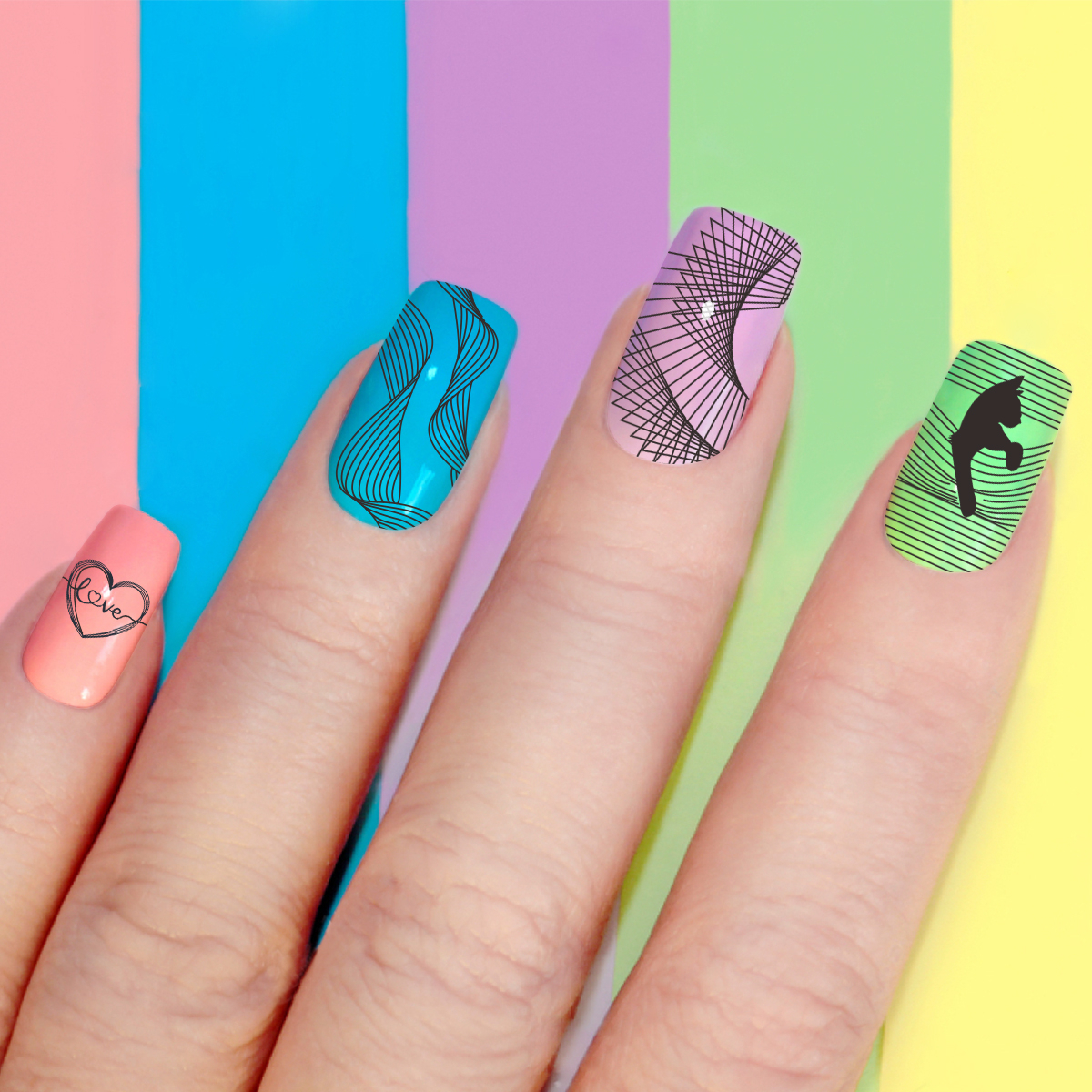 Image 4 - Beautybigbang Stamping Plates Nail Art Accessories Striped Lines Wave Heart Geometry Image Nails Stamping Print Template XL 085-in Nail Art Templates from Beauty & Health
