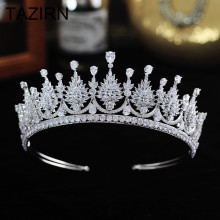 Sparkling Cubic Zirconia Wedding Bridal Tiaras and Crowns Women Girls CZ Party Prom Hair Jewelry Accessories Pageant Headpieces