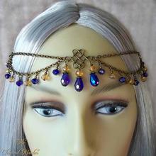 Женская классическая цепочка для волос многослойная с кристаллами