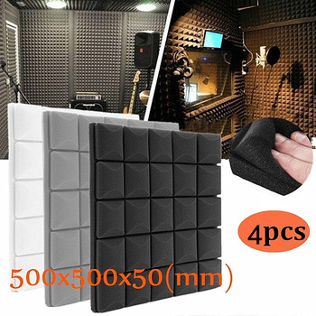4Pcs/Set Studio Soundproof Foam Panels Wall Acoustic Sound Absorption Sponge Drum Room Wedge Tiles Polyurethane Isolation Eponge - discount item  51% OFF Hardware