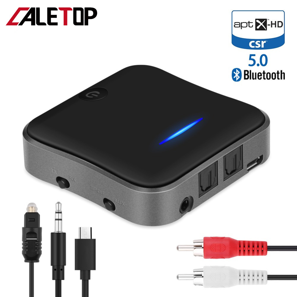 Bluetooth 5.0 Transmitter Receiver  Adapter Aptx HD/LL Wireless Adapters with 3.5mm AUX/SPDIF/Optical Toslink for TV Car Kits