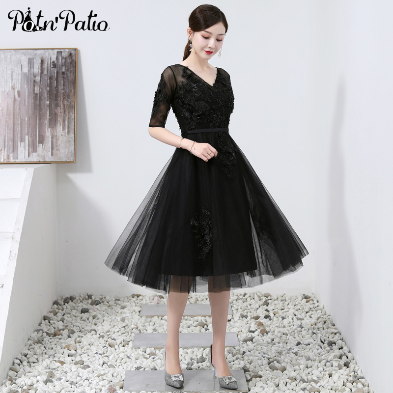 Black Beading   Prom     Dresses   Short Elgant V-neck Luxury Appliques Tulle Plus Size Women Evening   Dresses   With Sleeves