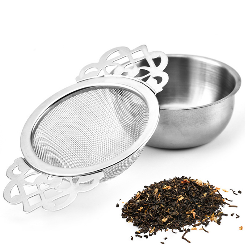 Stainless Steel 6.5CM Tea Strainer With Bottom Cup Double Handle Bulk Tea Spice Filter Reusable Tea Strainer Teapot Accessories