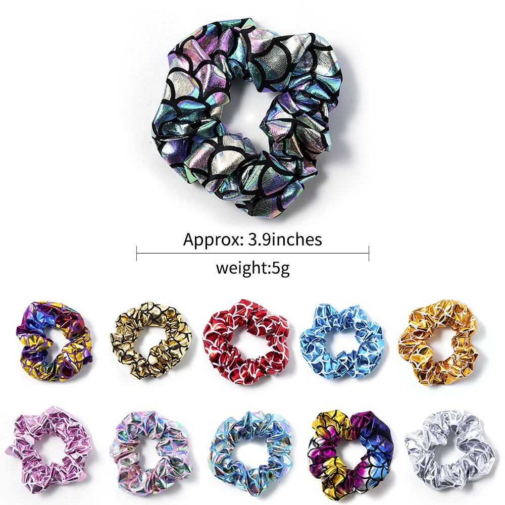 Glitter Fish Scale Pattern Scrunchies Shiny Hair Ring Rope Ties Ponytail Hair Accessories Elastic Hair Bands Holder