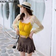 Conheça sonho versão coreana nova saia divisão estilo feminino magro calças de canto plano de três peças de renda de manga comprida maiô