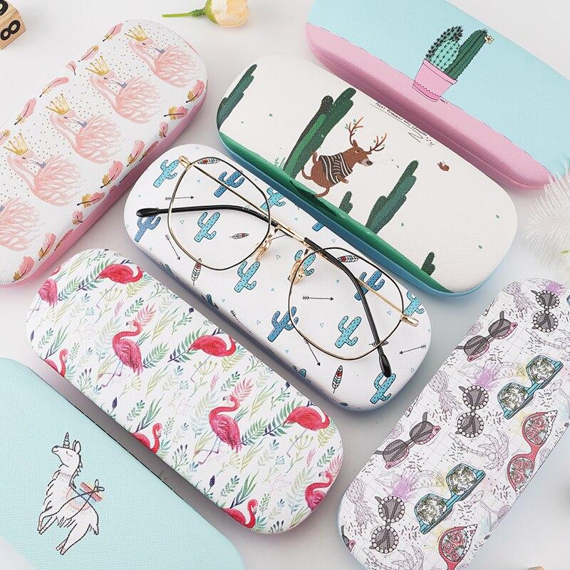 Colorful Cartoon Glasse Case Flamingo Cactus Cute Student Myopia Glasse Case Hard Leather Reading Glasses Case Eyewear Protector