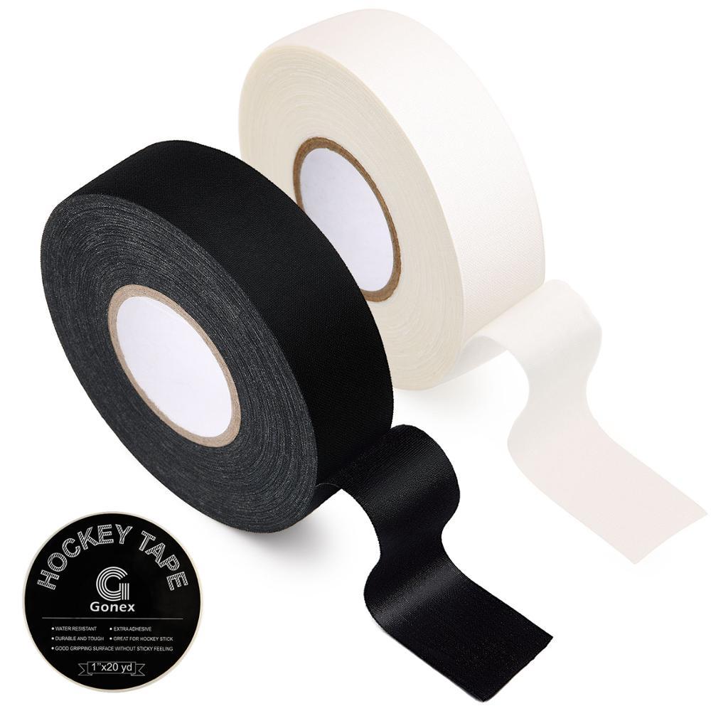 Gonex Hockey Tape, White Black Cloth Grip Tape For Hockey Ice Field Lacrosse Sticks