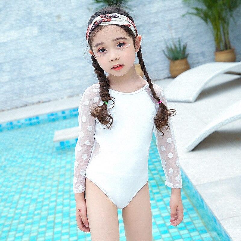 South Korea CHILDREN'S Swimwear GIRL'S Medium-small Big Kid Girls Long Sleeve Cute Sexy Princess Lace Backless Swimwear