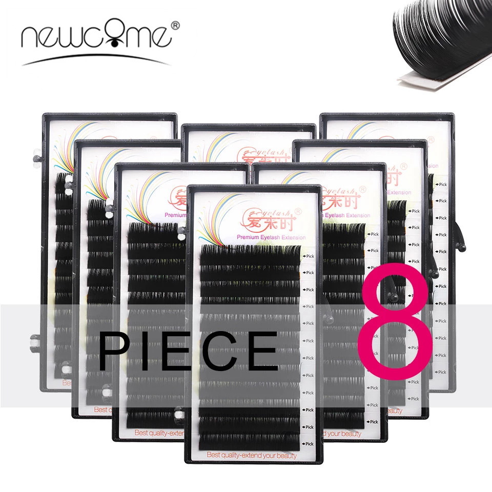NEWCOME 8 Cases/Lot Faux Mink Eyelash Extensions Natural Soft Eye Lashes BCD Curl Cilia Lashes