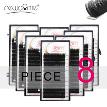 NEWCOME 8 Cases/Lot Faux Mink Eyelash Extensions Natural Soft Eye Lashes BCD Curl Cilia