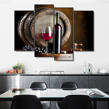 Laeacco Abstract 4 Panel Wine Grape Posters and Prints Wall Artworkwork Canvas Painting Nordic Home Living Room Decoration