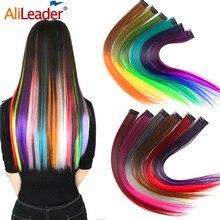 Alileader-extensiones de cabello con Clip para mujer, extensiones de cabello liso con degradado, de alta temperatura, 57 colores